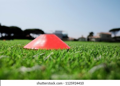Football cone on football pitch during training