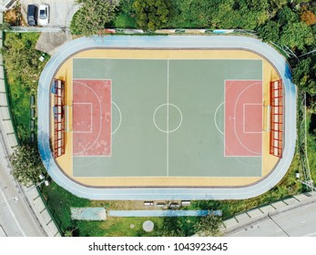 Football court aerial view