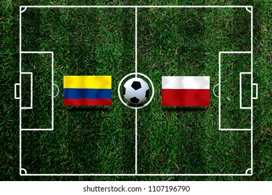 Football Cup competition between the national Colombia and national Poland.