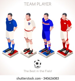Football Epic Moments. Support your Soccer Team. Interacting People Unique Isometric Realistic Poses palette 3D Flat Illustration Set. Magic Nights. Football Livery Standing Players