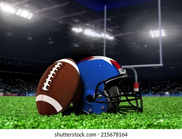 Football Equipment On Grass in Stadium with Spotlights