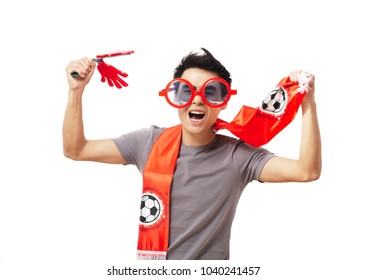 Football fan isolated on white