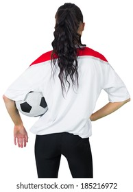 Football fan in white holding ball on white background