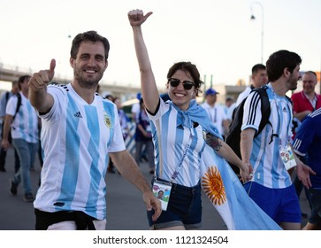 Football fans of Argentina before a game with Nigeria on June 26th 2018 at FIFA world cup in St Petersburg, Russia. Two men and a woman