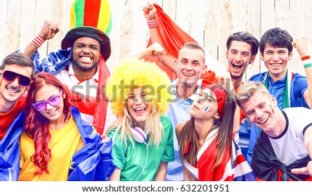 Football Fans Cheering Together Watching Game Stock Photo Edit Now