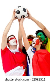Football fans with flag painted on their faces lifting a ball - isolated over a white background