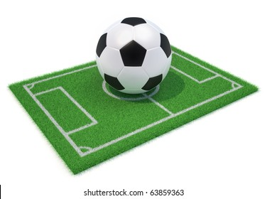 Football field and ball - this is a 3d render illustration