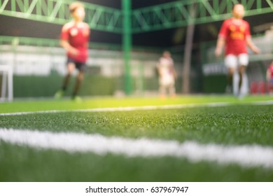 Football field blurred And football player