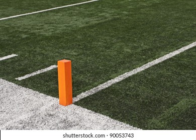 Football field close up of Touchdown pylon