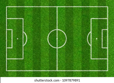 Football field drawn on a grass background