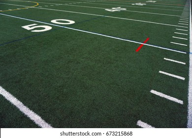 Football field Fifty  yard line with out of bounds sideline