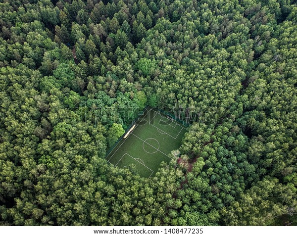 football field in the forest, Moscow park Meshchersky. Football, a beautiful top view of the football field, which is located in the forest