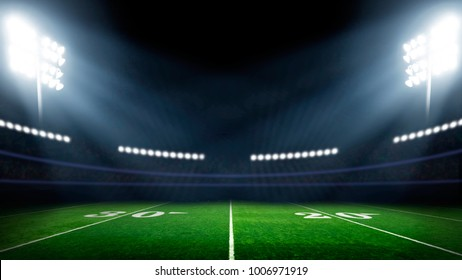 Football field with lights