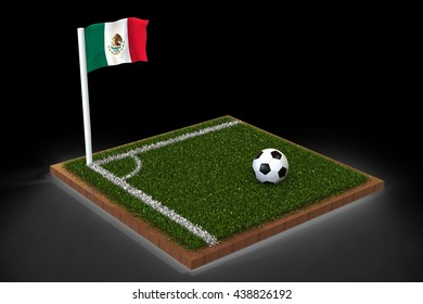 Football Field with mexican flag / Sports Background 3D Rendering