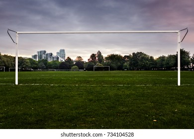 A football field in the middle of the city of London.