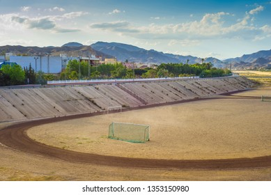 A football field on the mountains on the background A quiet and beautiful place for a football game in Andalusia, Spain