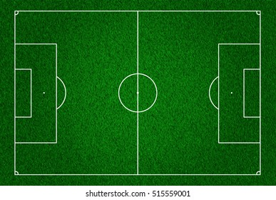 football field or pitch top view with proper markings and proportions according standards