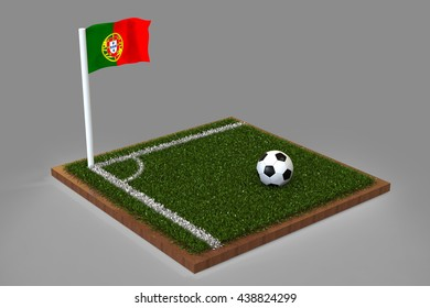 Football Field with portuguese flag / Sports Background 3D Rendering