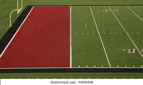A football field with a red endzone