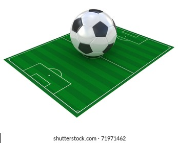 Football field and soccer ball isolated on white