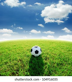 football field soccer stadium on the green grass blue sky sport game background for design