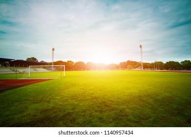 Football field in the stadium