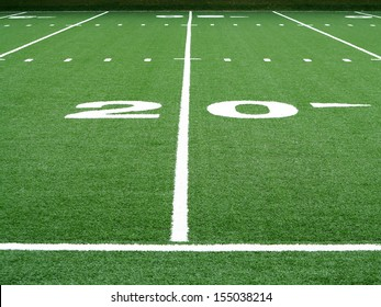 Football field twenty yard line