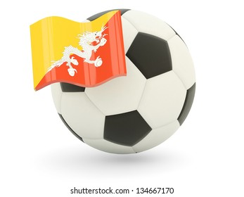 Football with flag of bhutan isolated on white