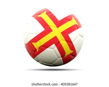 Football with flag of guernsey. 3D illustration