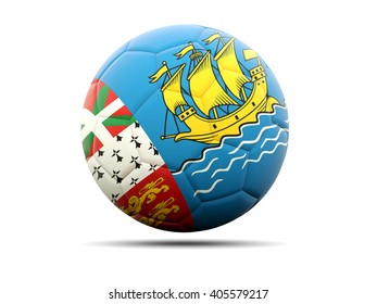 Football with flag of saint pierre and miquelon. 3D illustration