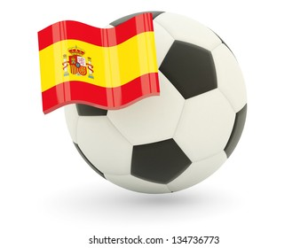 Football with flag of spain isolated on white