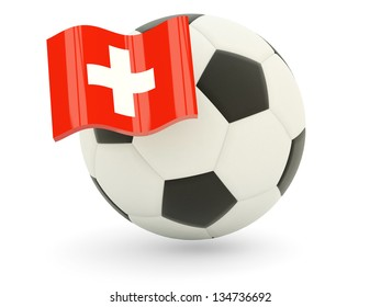 Football with flag of switzerland isolated on white