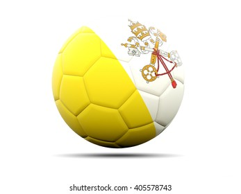 Football with flag of vatican city. 3D illustration