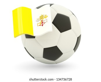 Football with flag of vatican city isolated on white