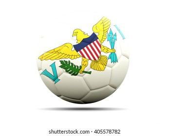 Football with flag of virgin islands us. 3D illustration