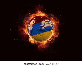 Football in flames with flag of armenia on black background. 3D illustration