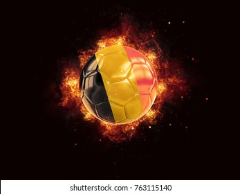 Football in flames with flag of belgium on black background. 3D illustration