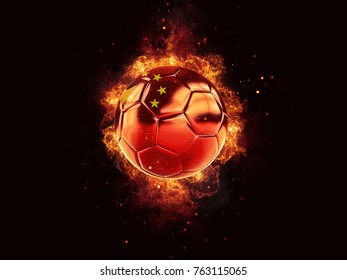 Football in flames with flag of china on black background. 3D illustration