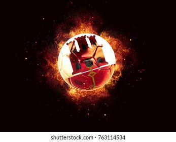Football in flames with flag of gibraltar on black background. 3D illustration