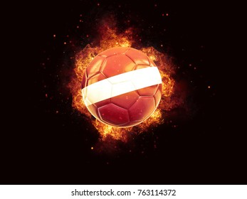 Football in flames with flag of latvia on black background. 3D illustration