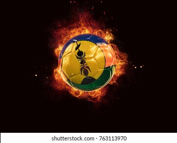 Football in flames with flag of new caledonia on black background. 3D illustration