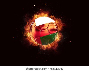 Football in flames with flag of oman on black background. 3D illustration