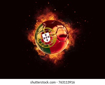 Football in flames with flag of portugal on black background. 3D illustration