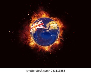 Football in flames with flag of saint helena on black background. 3D illustration
