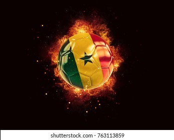 Football in flames with flag of senegal on black background. 3D illustration