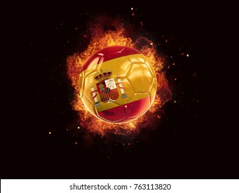 Football in flames with flag of spain on black background. 3D illustration