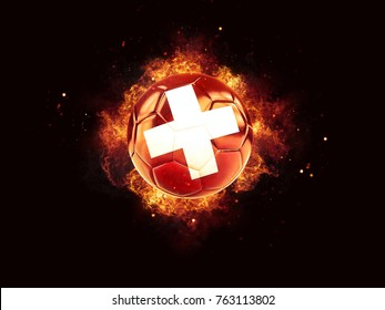 Football in flames with flag of switzerland on black background. 3D illustration