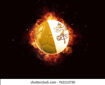 Football in flames with flag of vatican city on black background. 3D illustration
