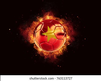 Football in flames with flag of vietnam on black background. 3D illustration