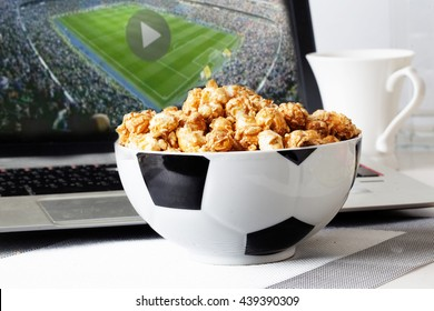 Football food popcorn bowl tv broadcast television laptop fans ball